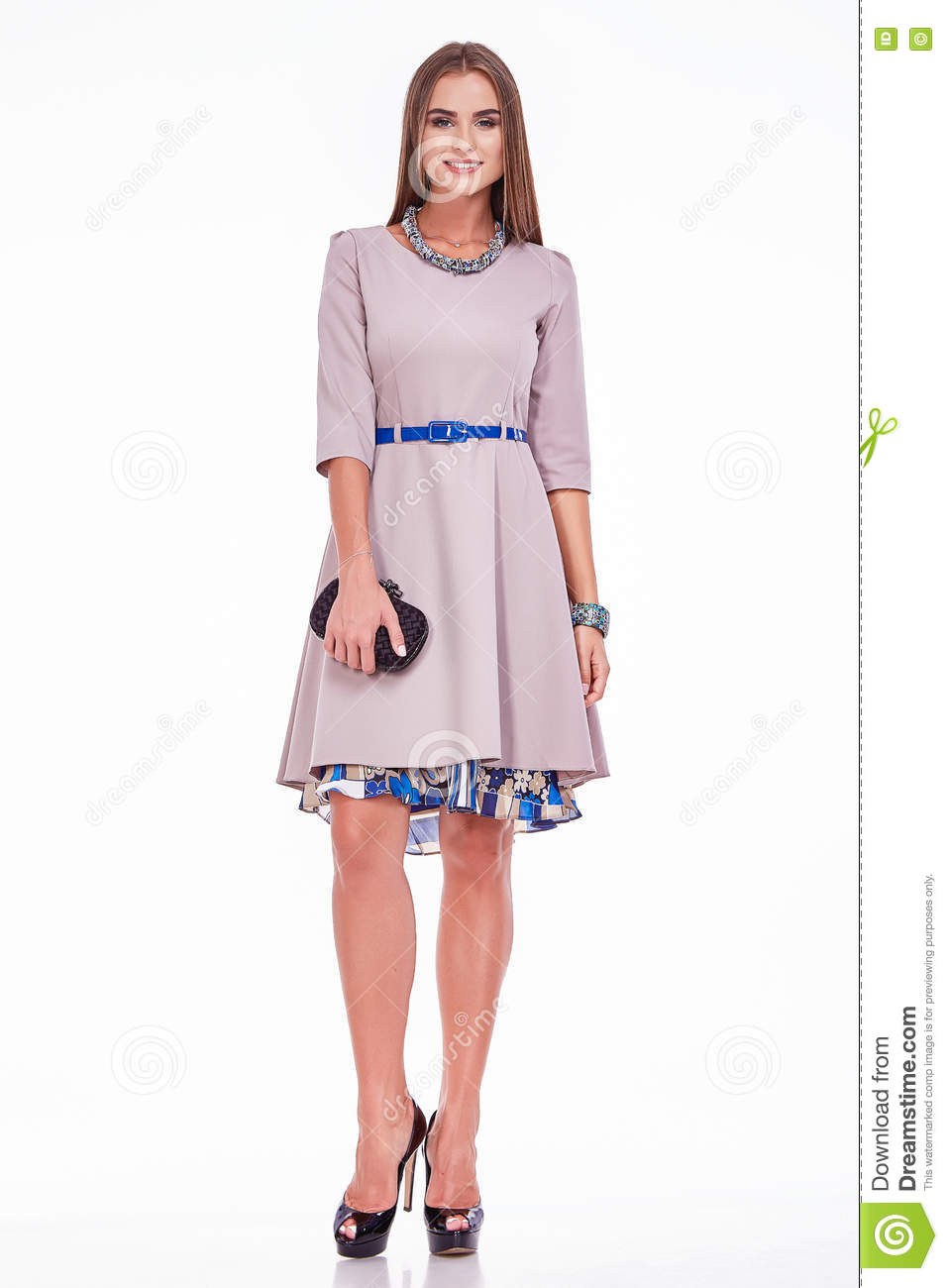 c92f3a24cd90 Beauty stylish woman wear silk dress fashion style look business clothes  casual for meeting and party woman with long brunette hair and tanned skin  makeup ...