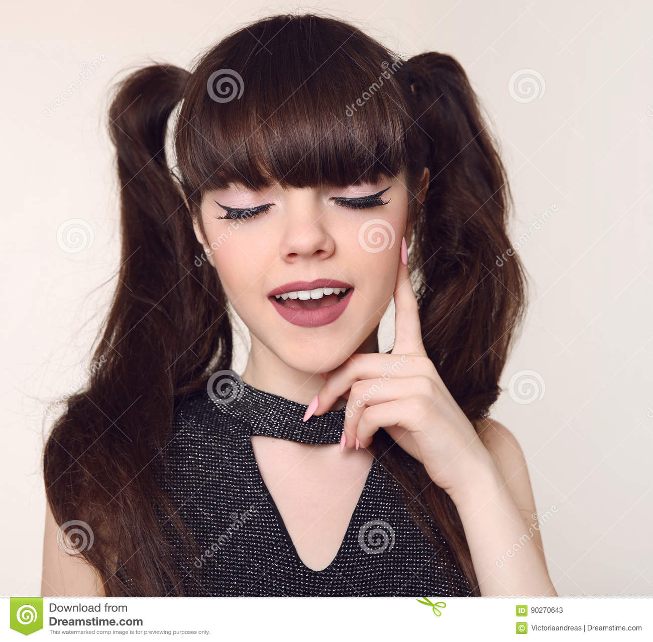 Beauty Teen Makeup And Hairstyle Happy Brunette Teenage Girl Sm