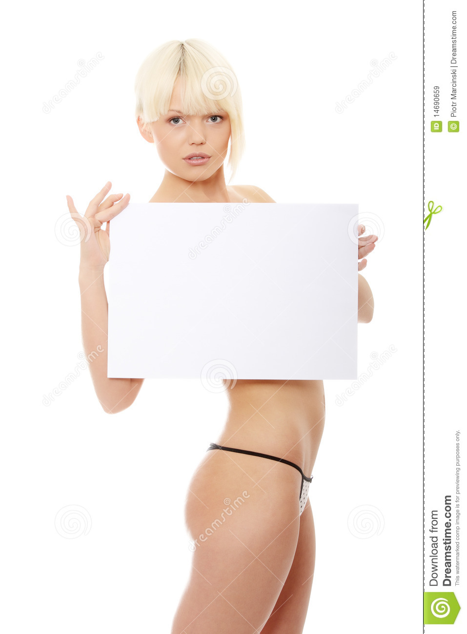 Naked women holding sign