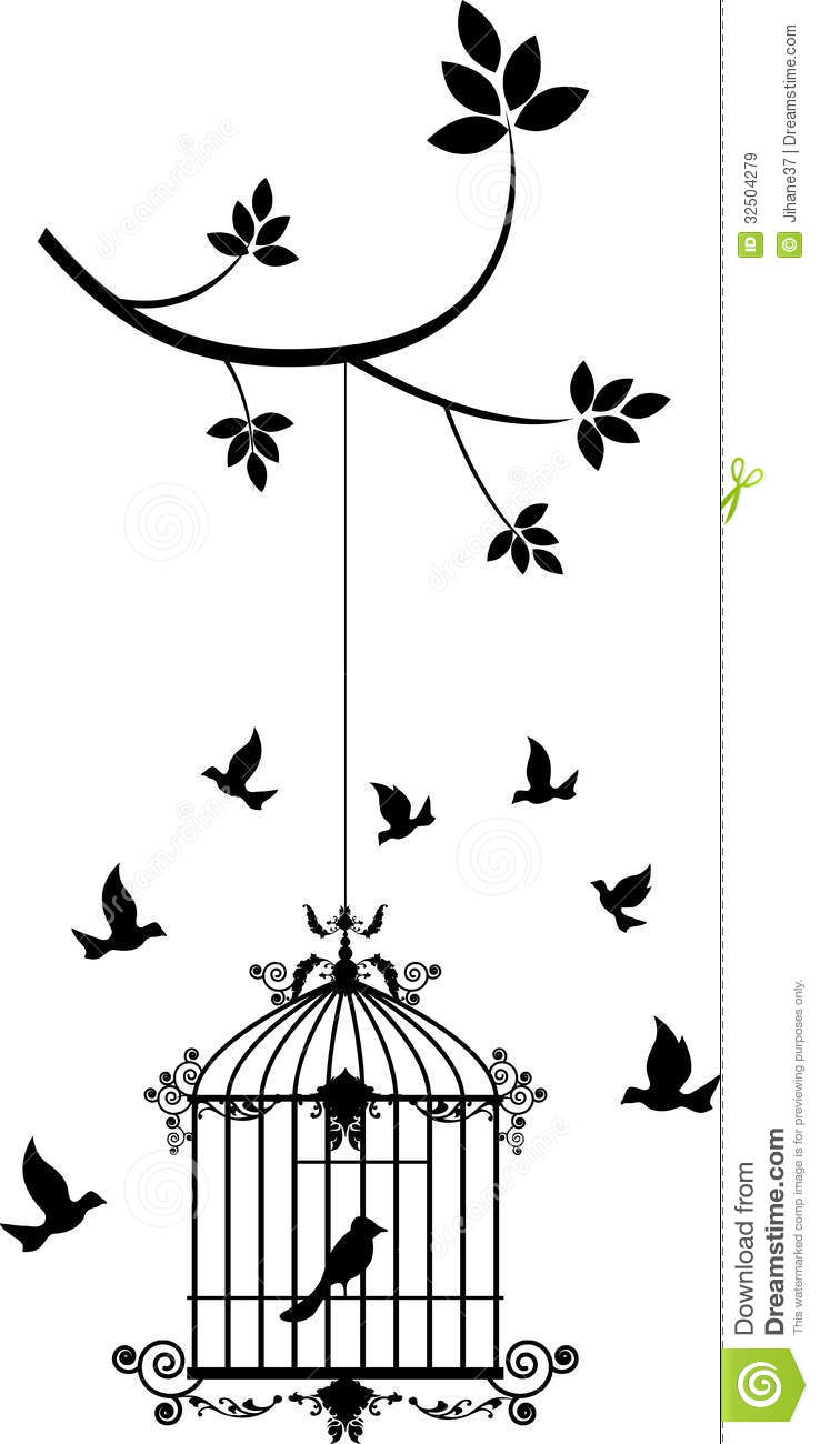 Royalty Free Stock Images Beauty Tree Silhouette Birds Flying Bird Cage Illustration Image32504279 on vintage romance illustrations