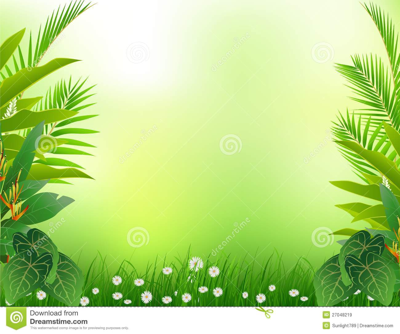 Beauty Tropical Forest Background Stock Illustration Illustration