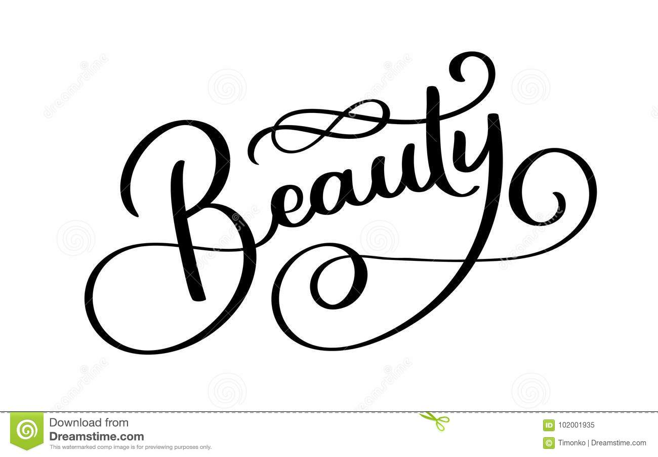 Beauty Typography Square Poster Vector Lettering Calligraphy