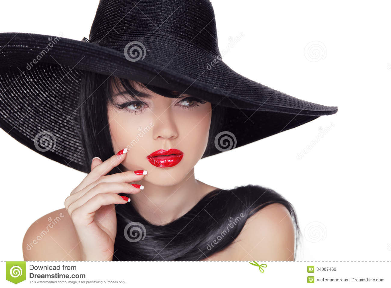 beauty vogue style fashion model girl in black hat