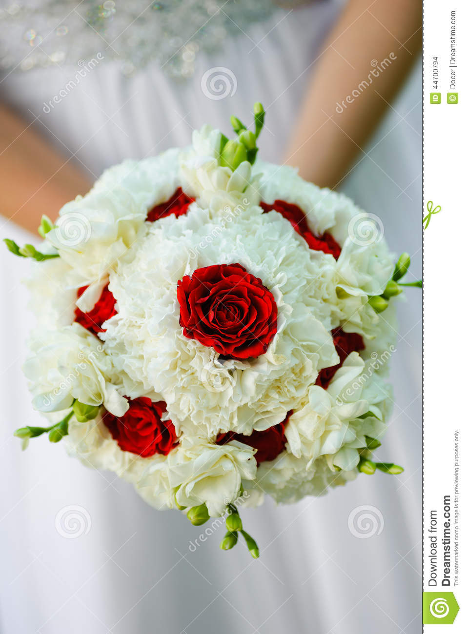 Beauty Wedding Bouquet Of Red Roses And White Flowers Stock Photo