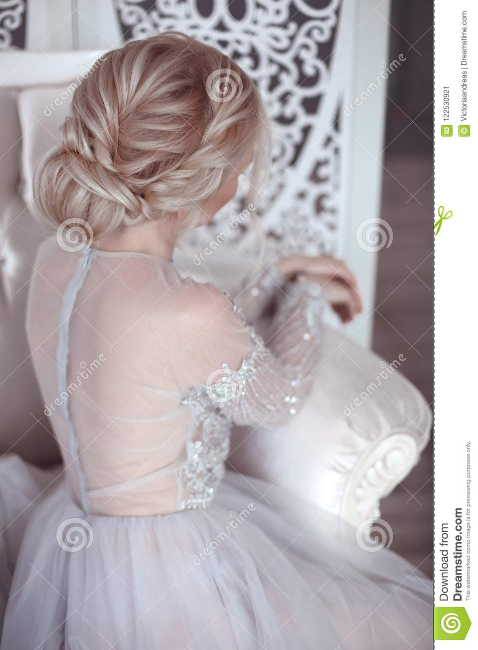 Beauty Wedding Hairstyle Bride Blond Girl With Curly Hair