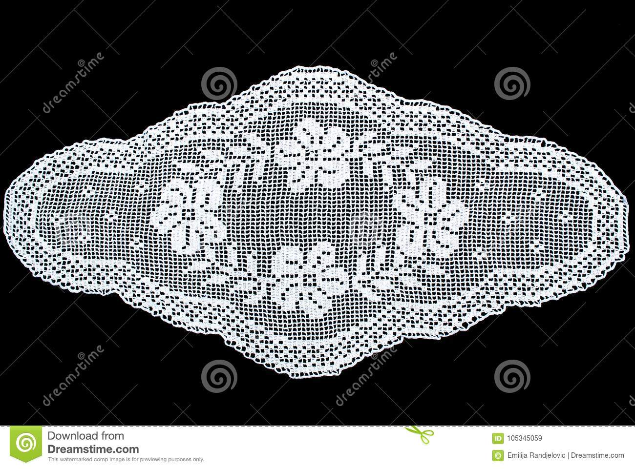 Beauty White Oval Lace Tablecloth Isolated On Black Background, Floral  Pattern