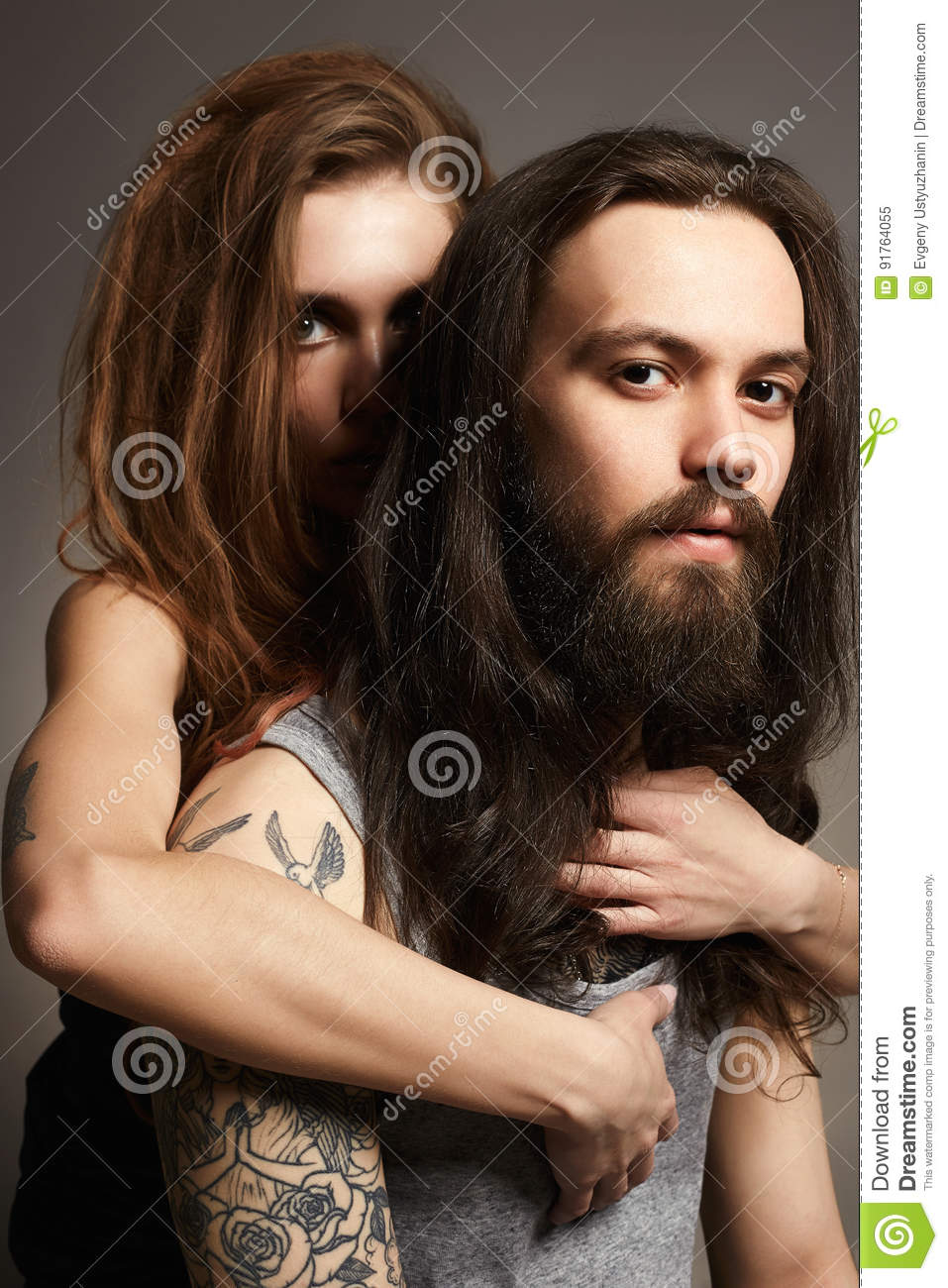 beauty woman and bearded man in hugs stock image image of hipster