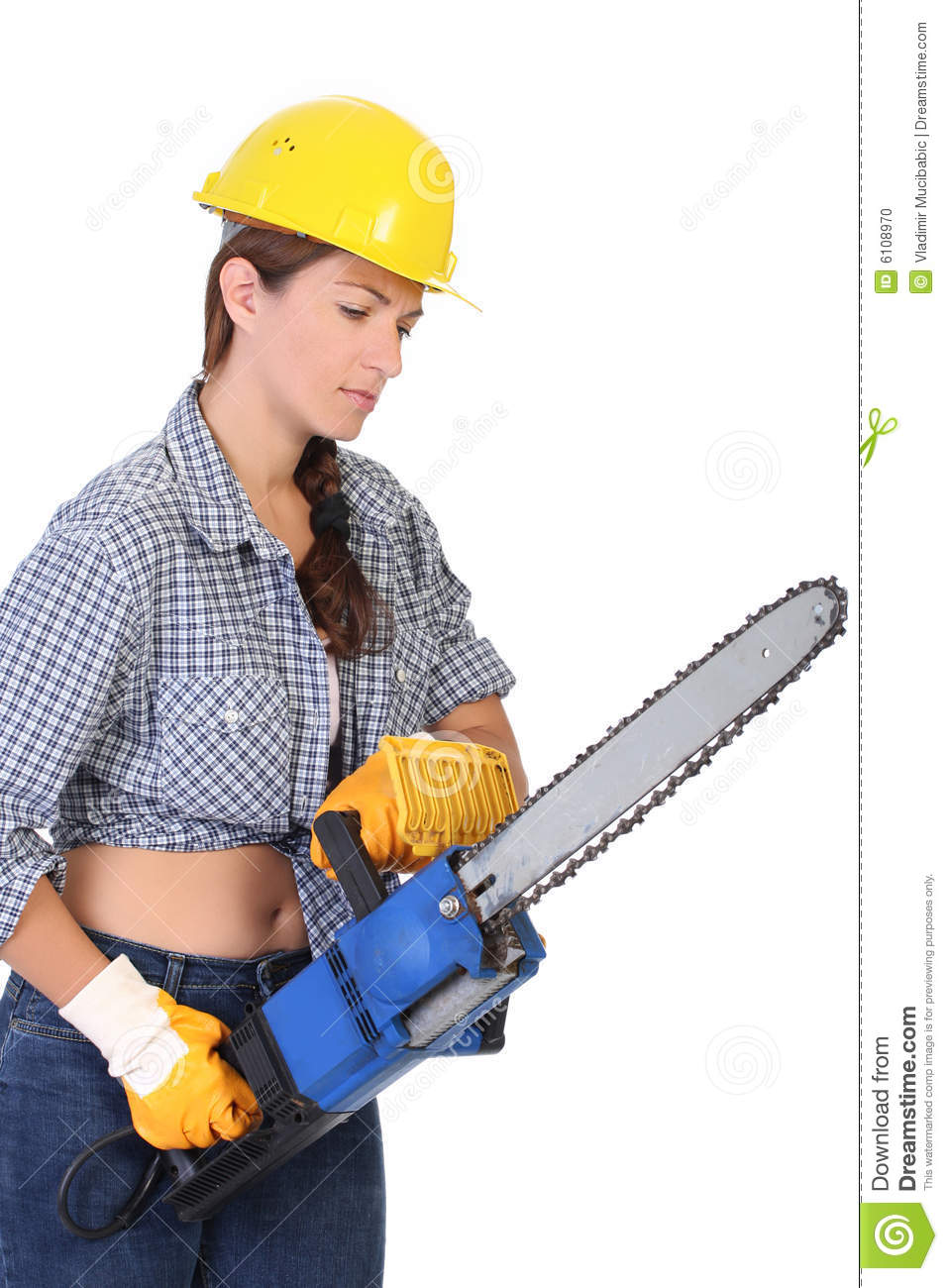 Beauty Woman With Chainsaw Stock Photo Image 6108970