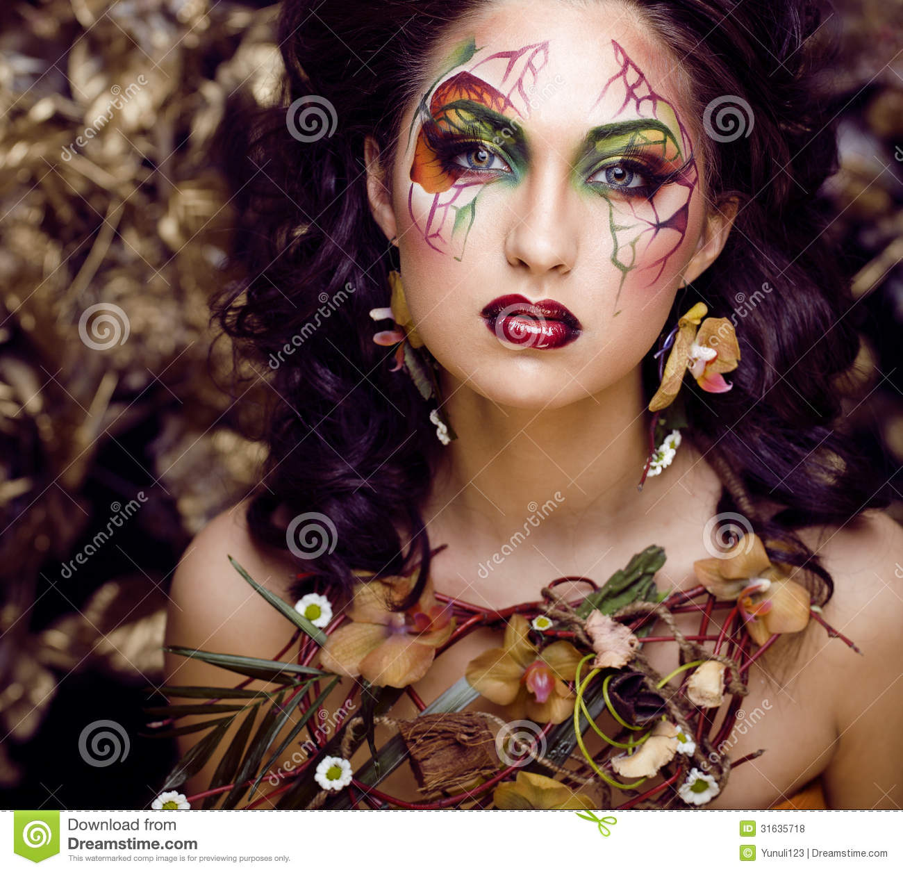 Beauty Woman With Face Art And Jewelry From Flowers Orchids ...