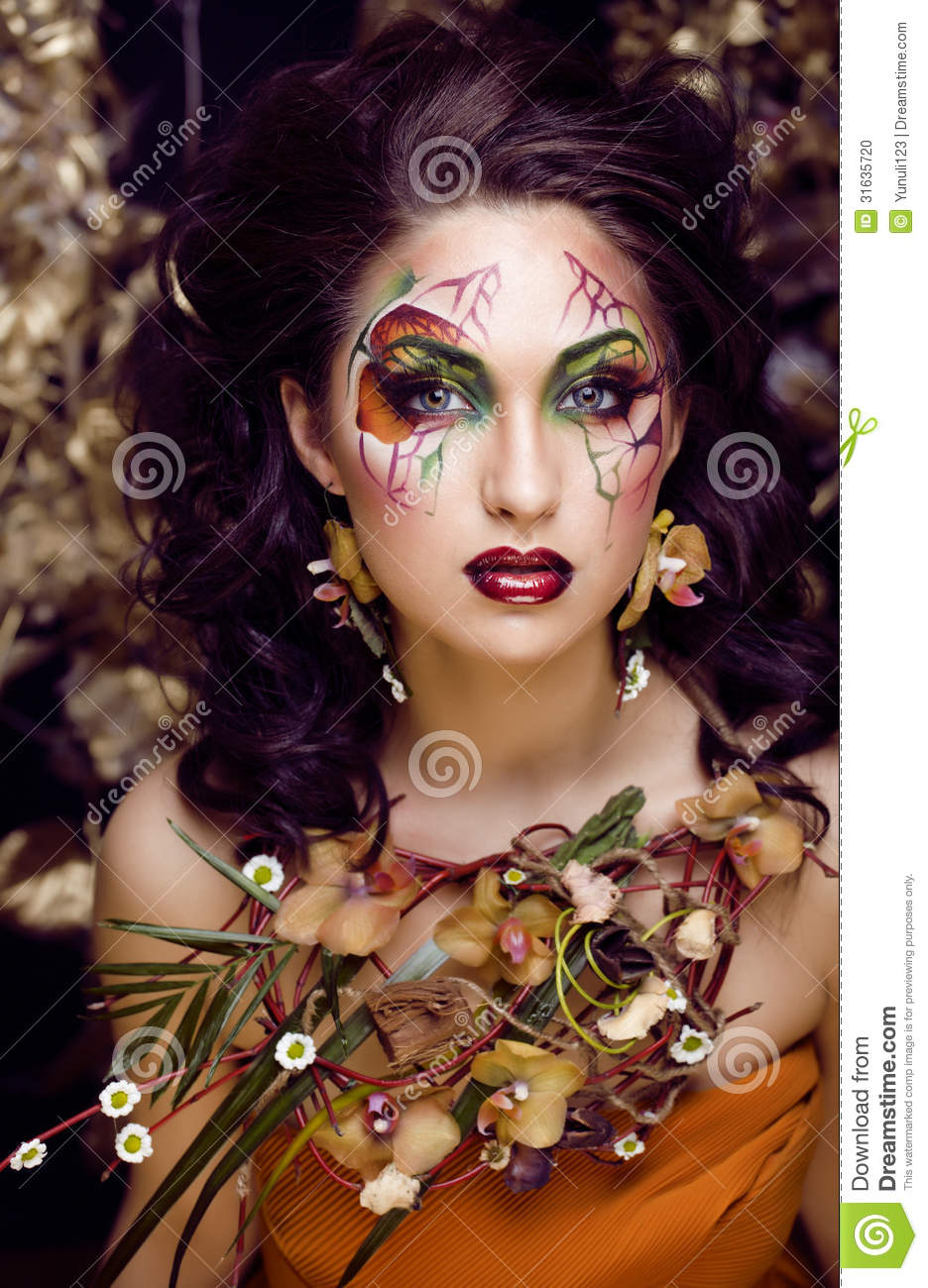Beauty Woman With Face Art And Jewelry From Flowers Orchids Stock ...