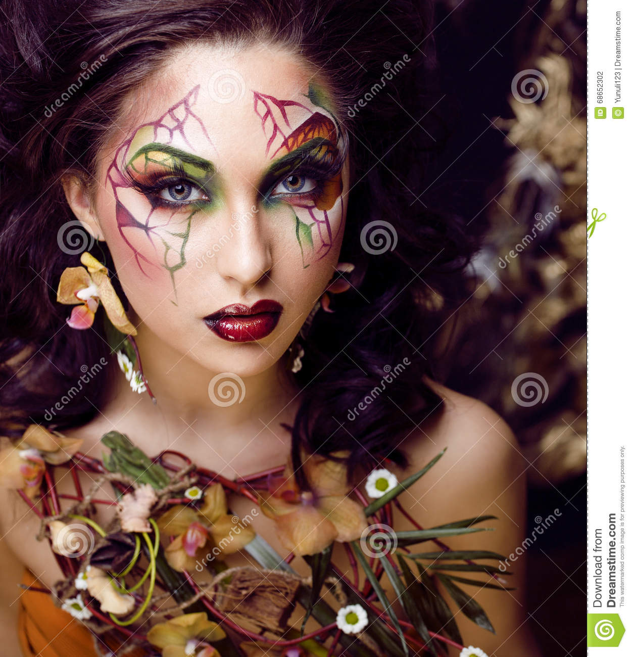 Beauty Woman With Face Art And Jewelry From Flowers Orchids Close ...