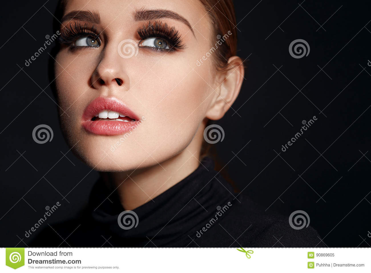 Beauty Woman Face. Beautiful Female With Makeup, Long Eyelashes