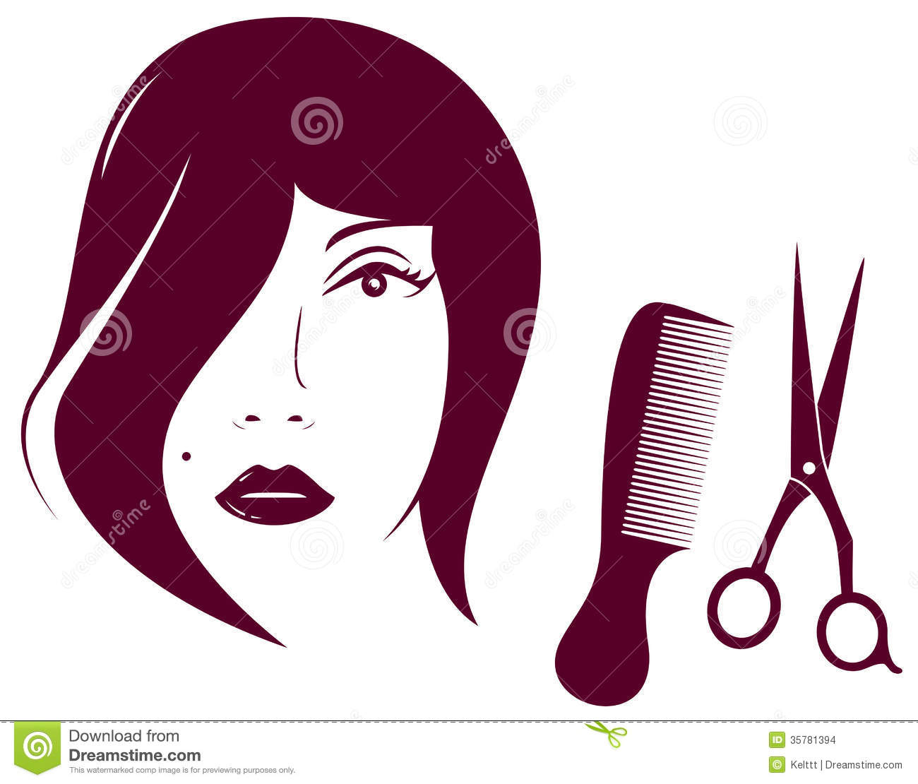 Beauty Woman Face With Comb And Scissors Stock Images