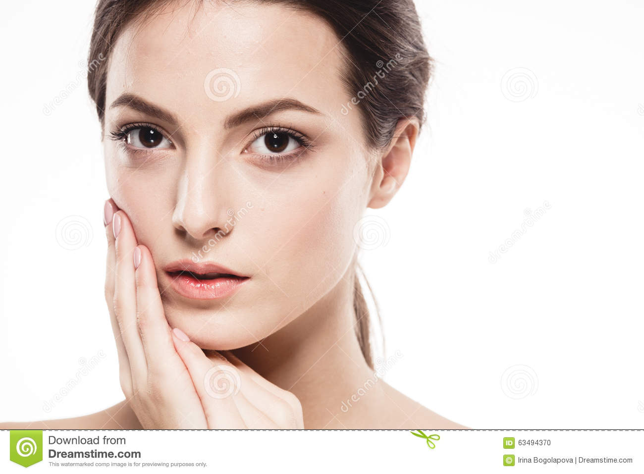 Beauty woman face portrait beautiful spa model girl with perfect fresh clean skin isolated - Garls perpact ...