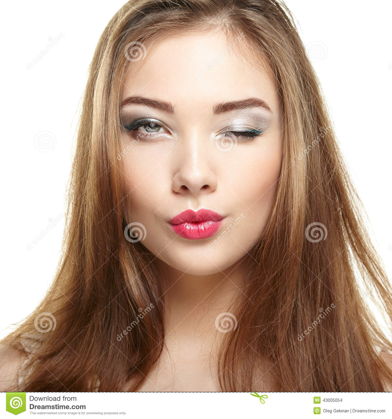 Beauty woman face. Young girl smiling