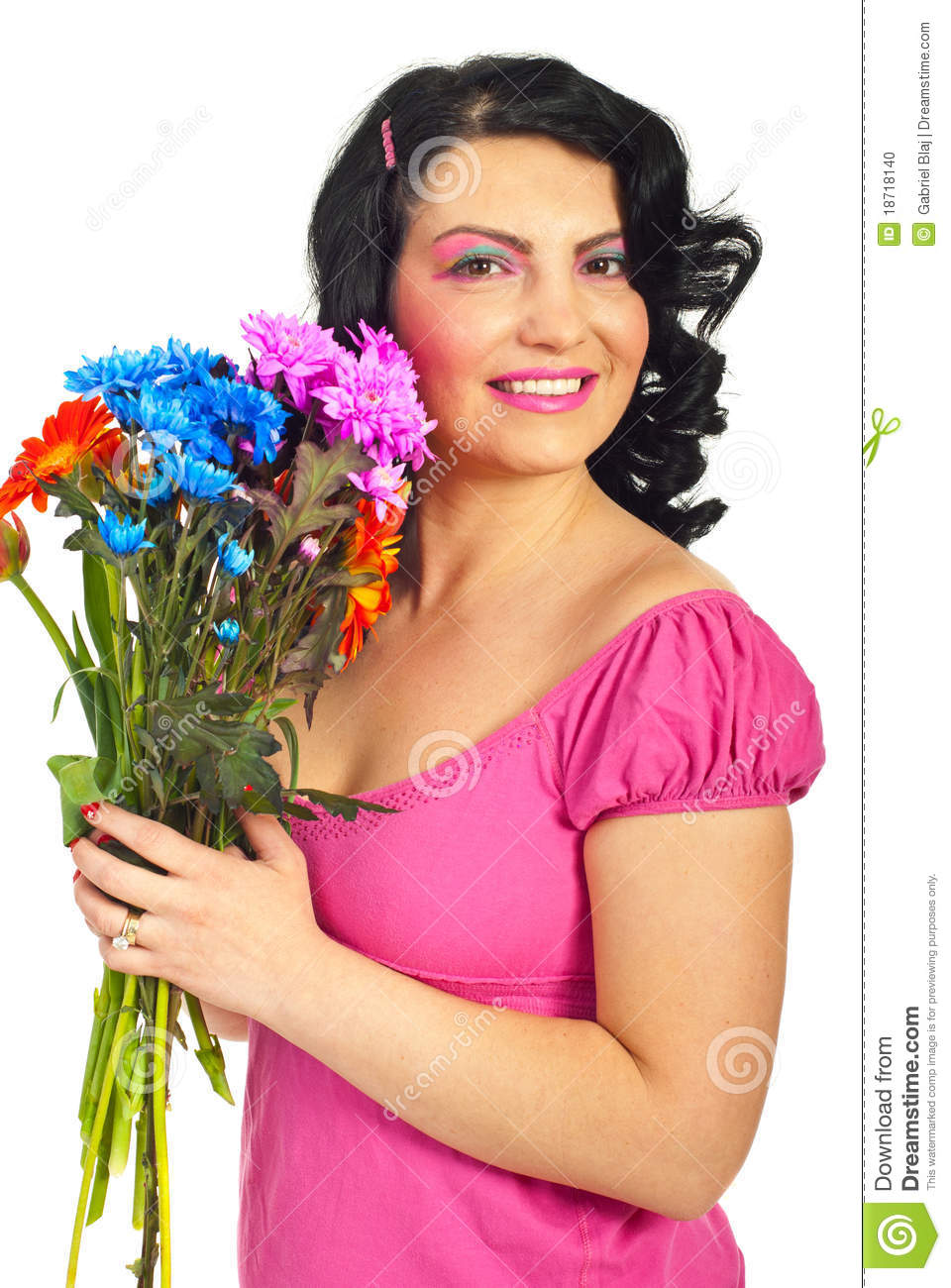 Beauty Woman Holding Flowers Bouquet Stock Photo - Image ...