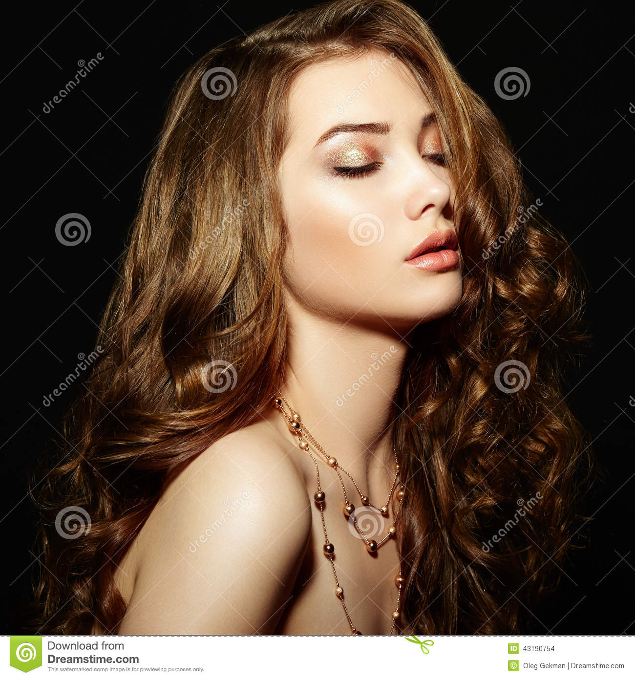 Beauty Woman With Long Curly Hair Beautiful Girl With