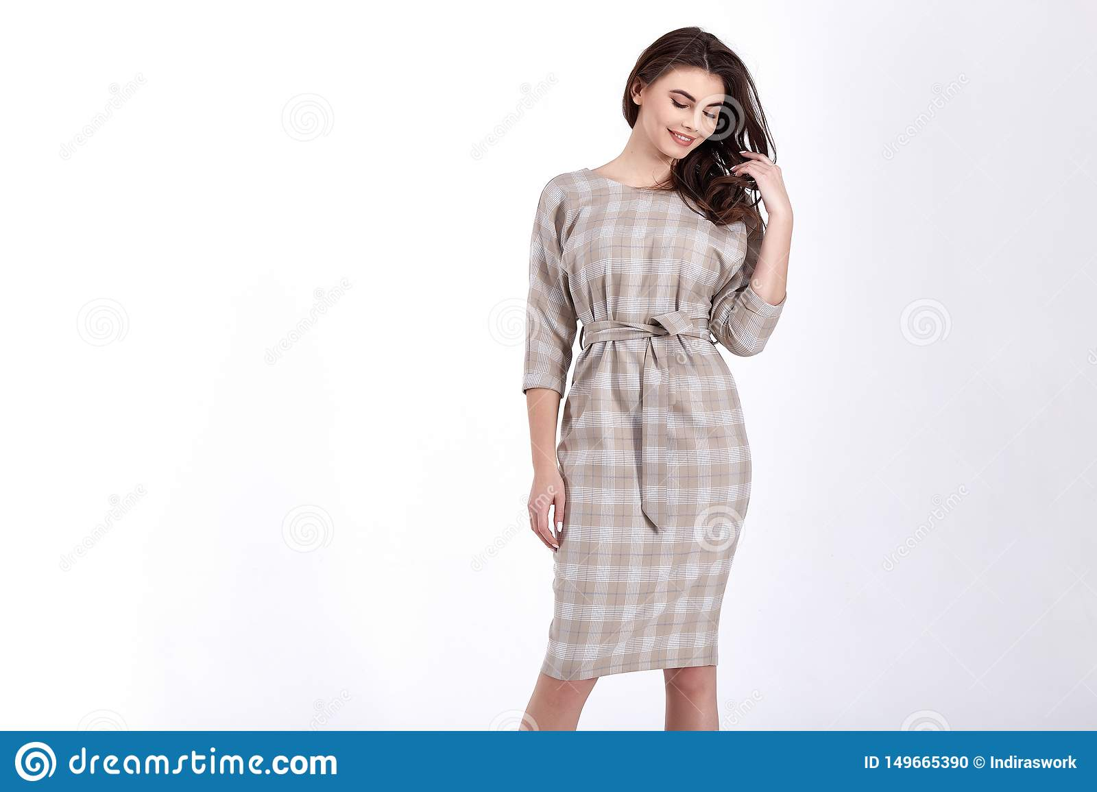 Beauty woman model wear stylish design trend clothing natural organic wool cotton dress casual formal office style for work