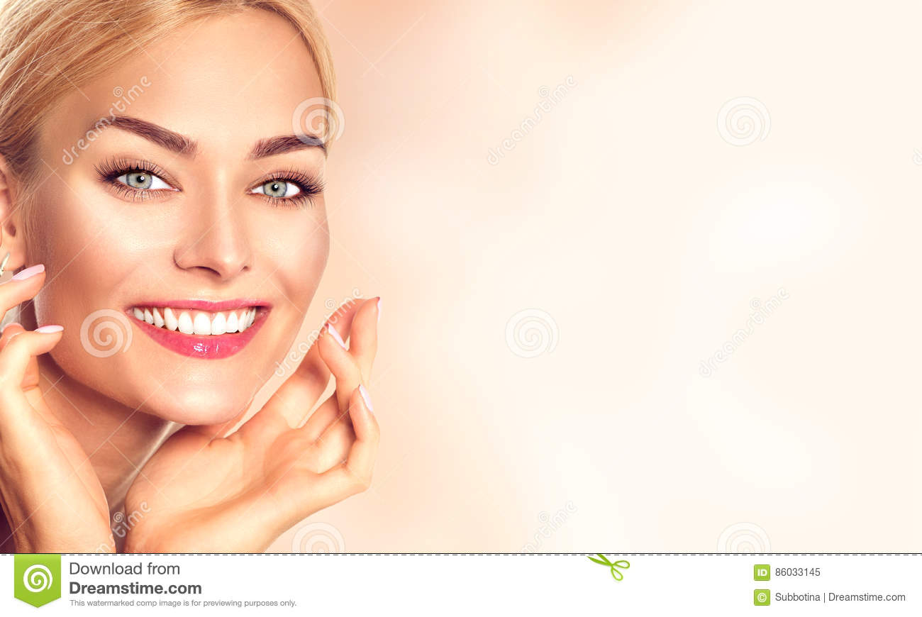 Download Beauty Woman Portrait. Beautiful Spa Girl Touching Her Face Stock Image - Image of health, makeup: 86033145