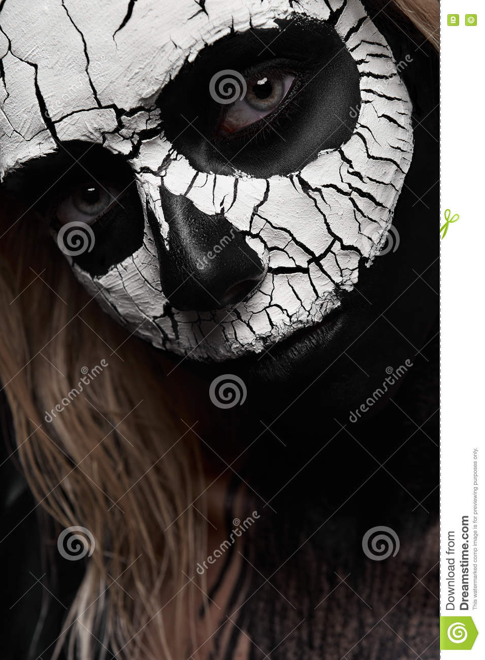 Beauty Woman with scary Skull on her Face