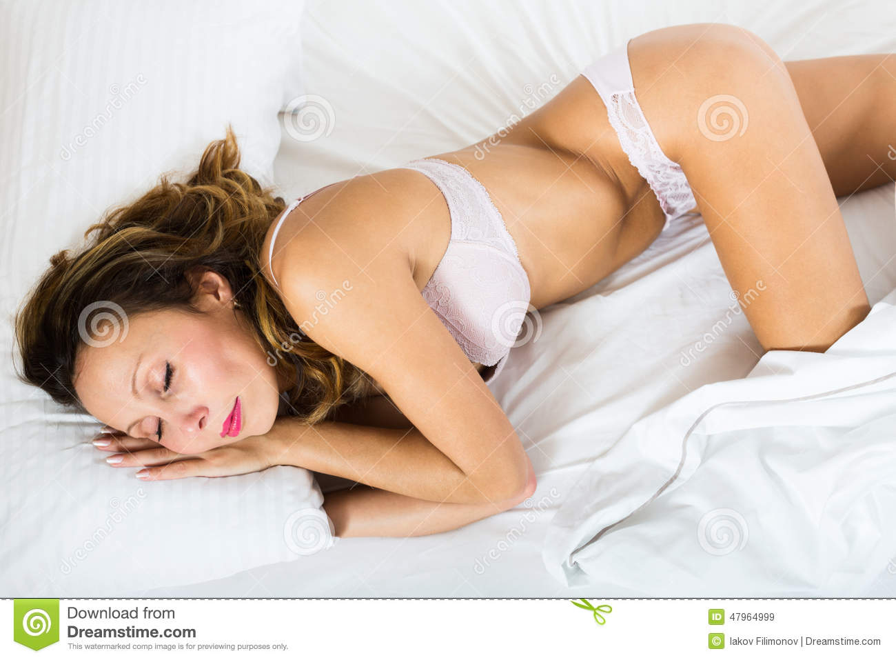 Beauty Woman Sleeping In Underwear Stock Photo Image