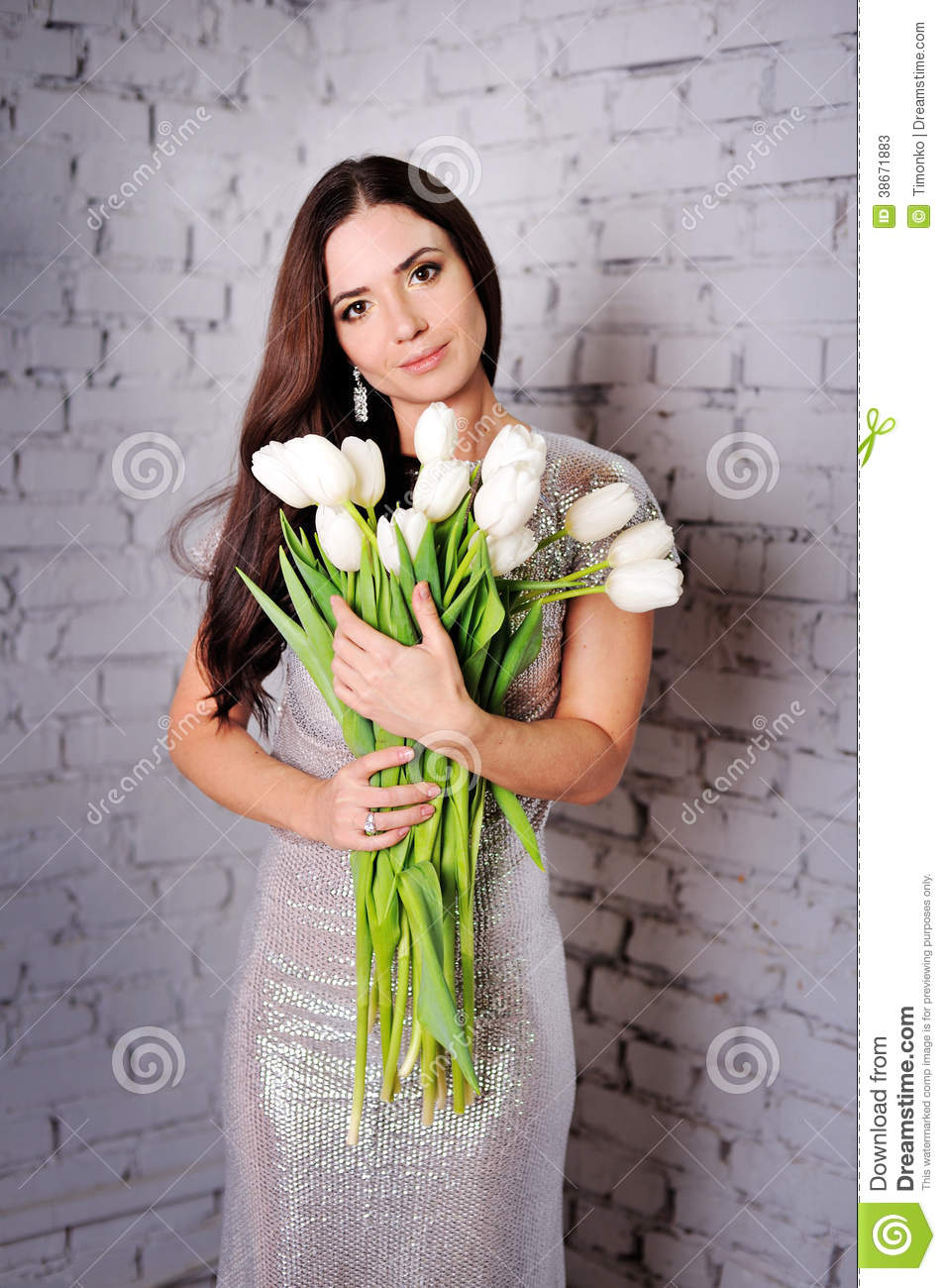 Beauty Woman With Spring Flower Bouquet Stock Image Image