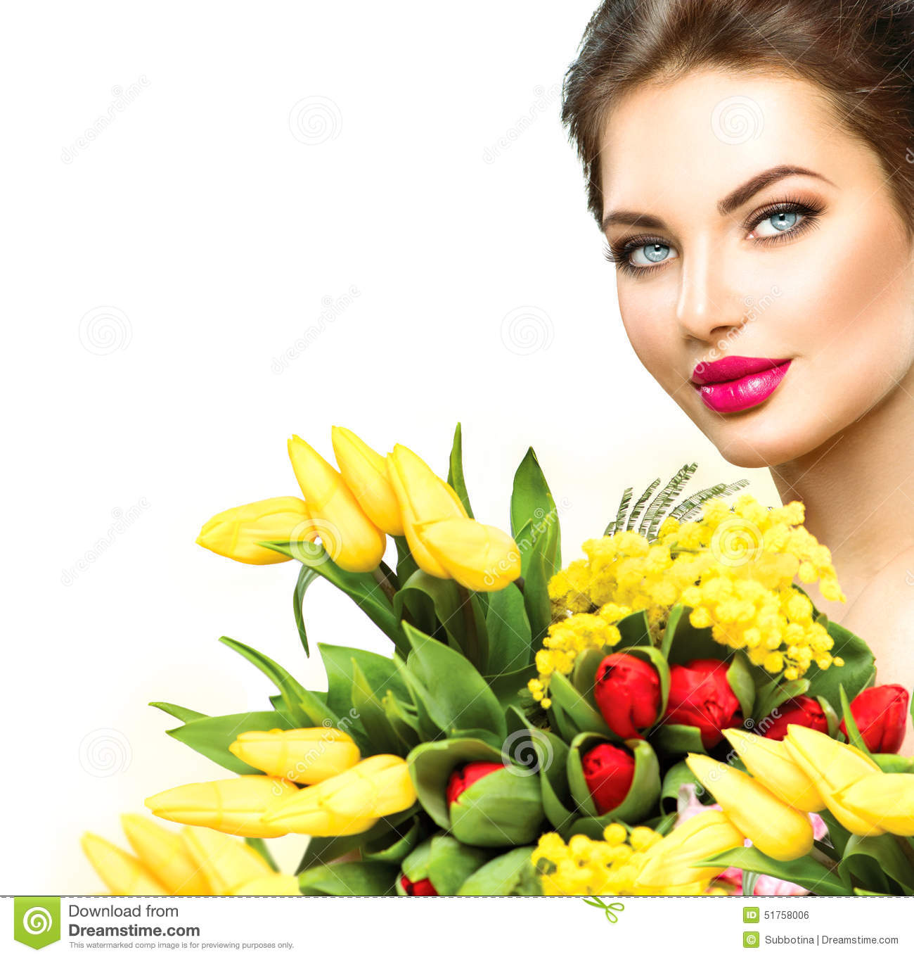 Beauty Woman With Spring Flowers Bouquet Stock Photo Image Of