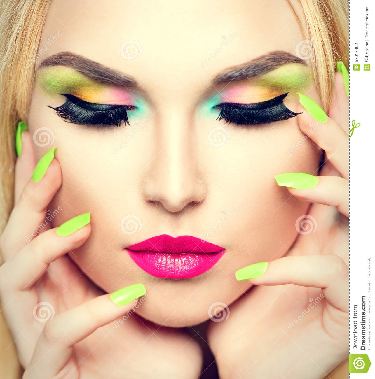 Beauty Woman With Vivid Makeup And Colorful Nail Polish Stock Photo - Image 58017402