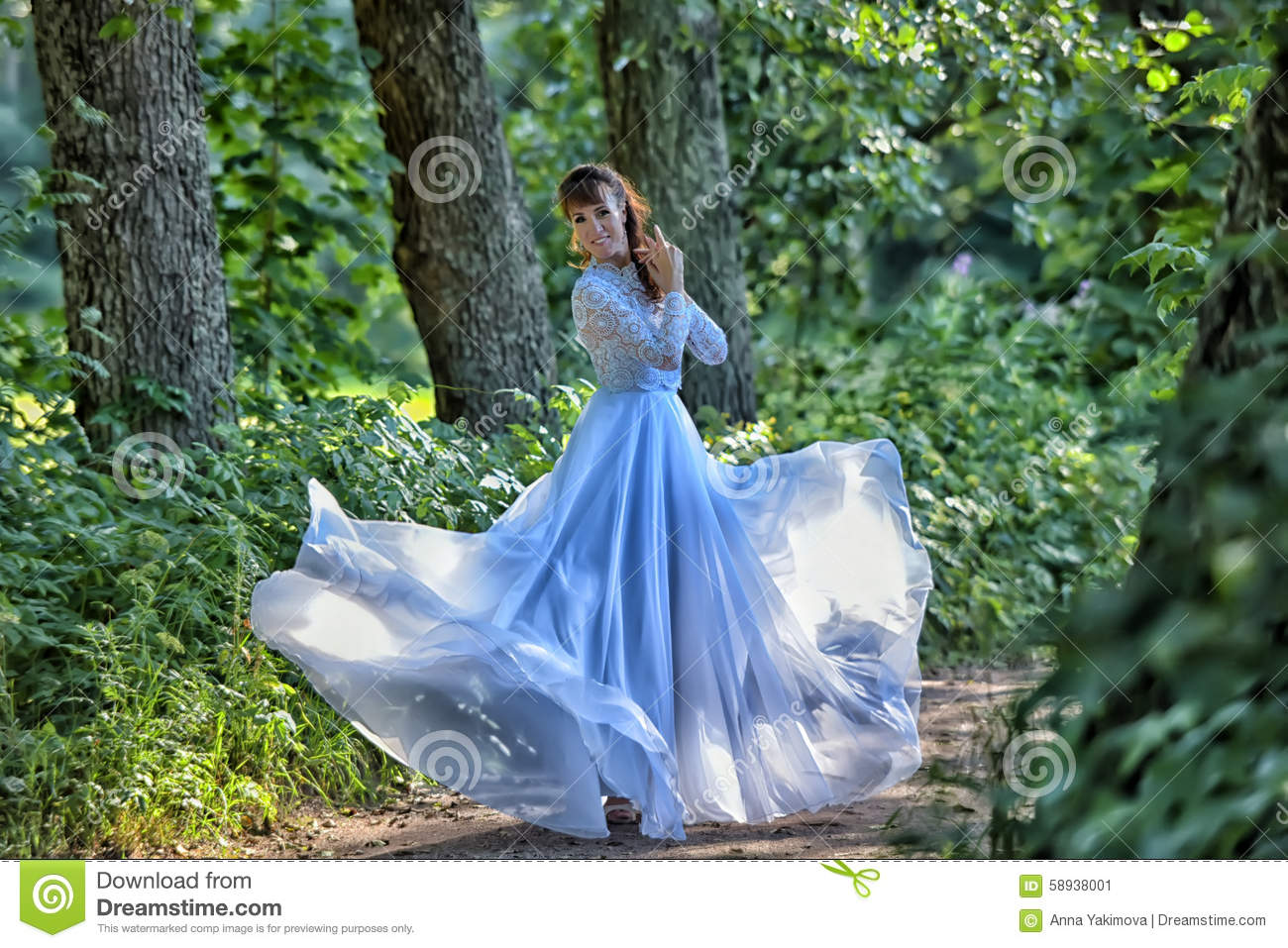 Beauty woman with white dress flying