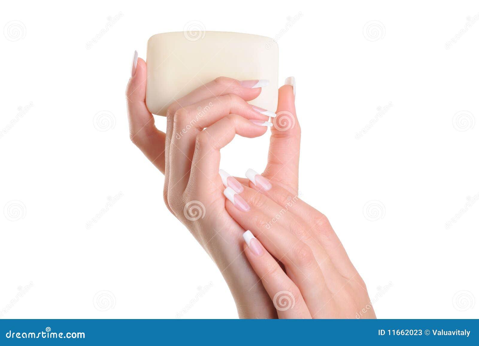 Beauty Women Hand Holding The White Soap Stock Photos