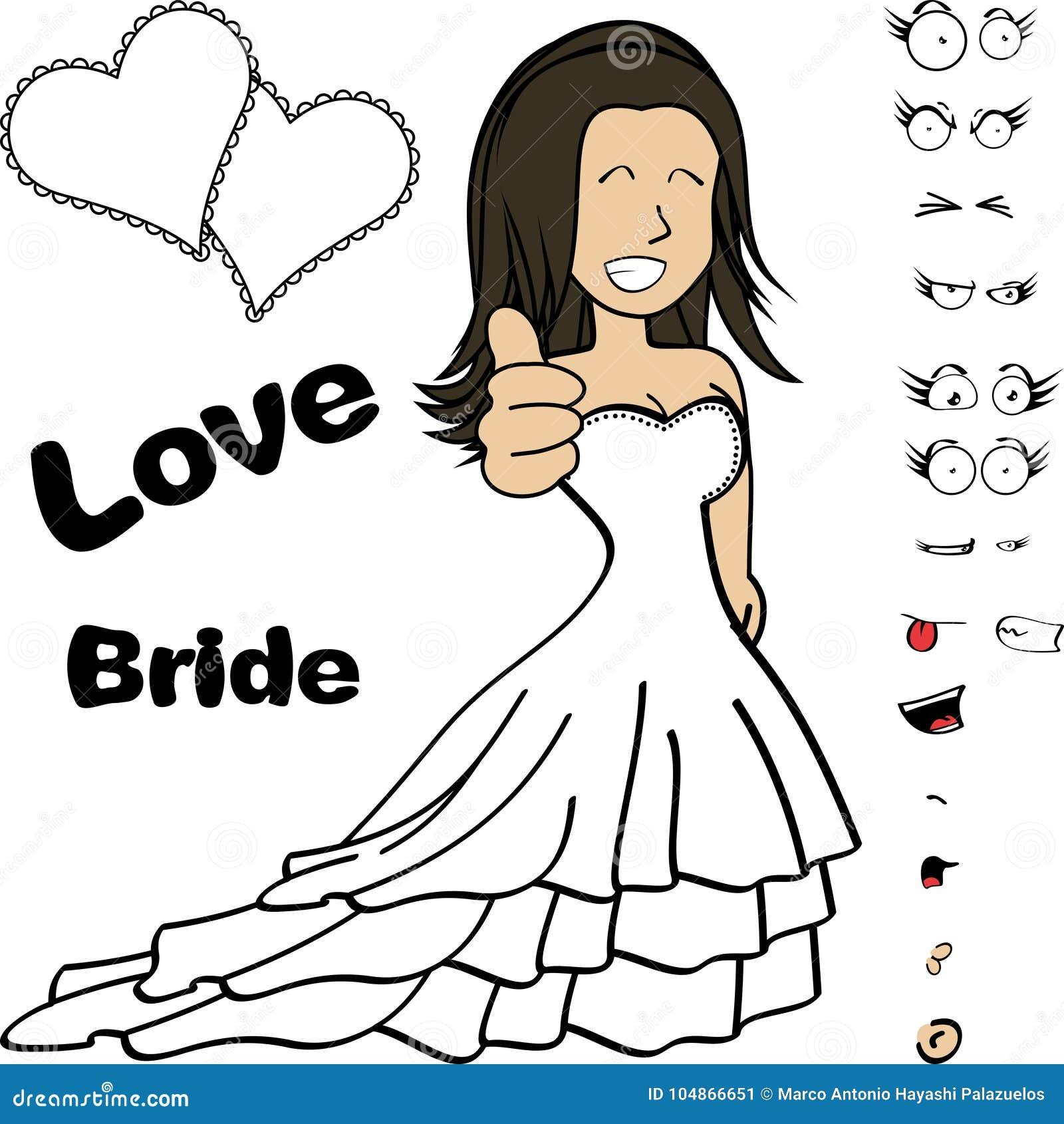 Funny Young Bride Cartoon Expressions Set Stock Vector