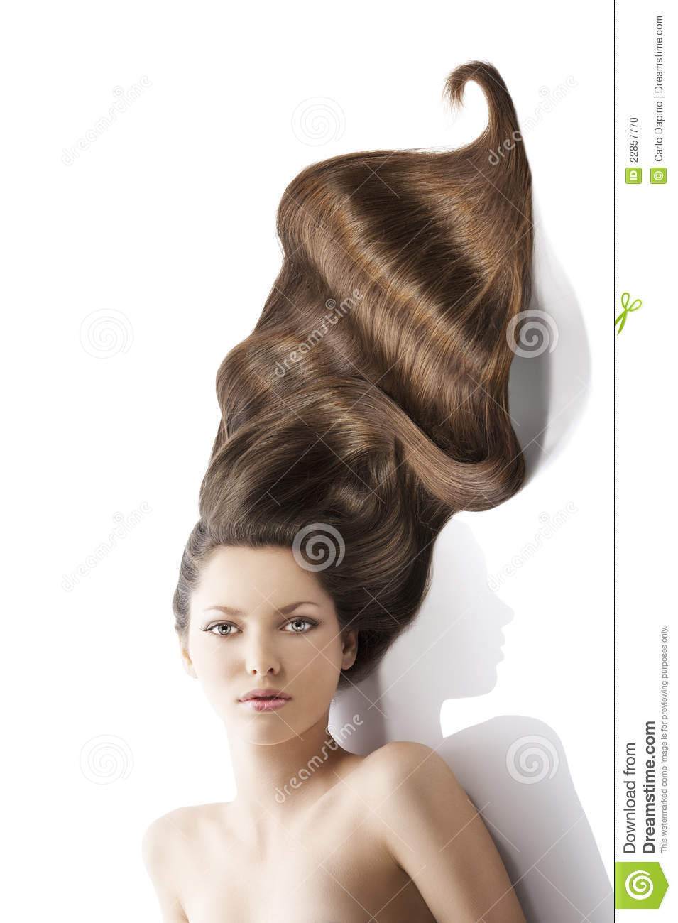 Beauty Young Girl Hairstyleand A Lot Of Hair Stock Photo Image Of