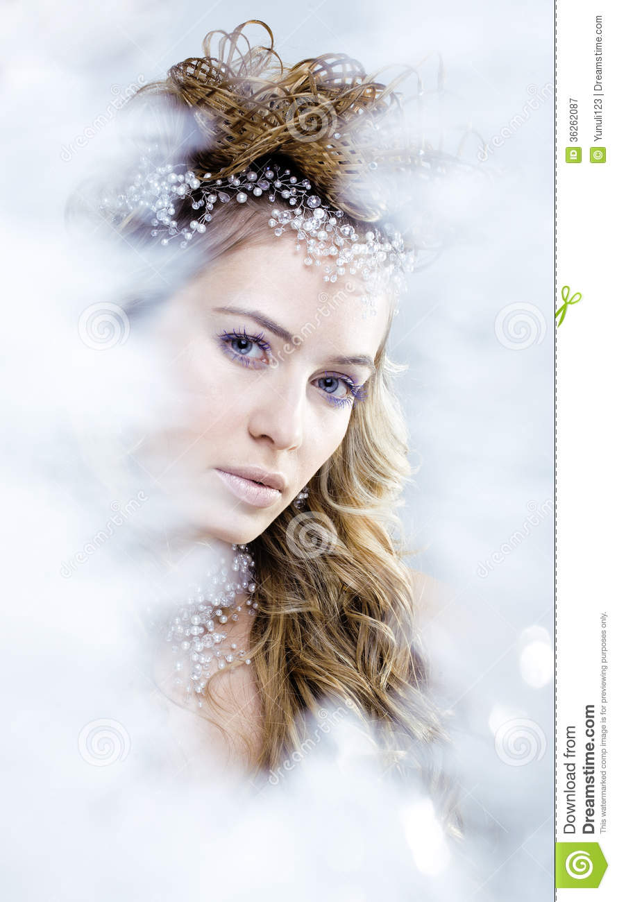 Beauty Young Snow Queen In Fairy Flashes Royalty Free
