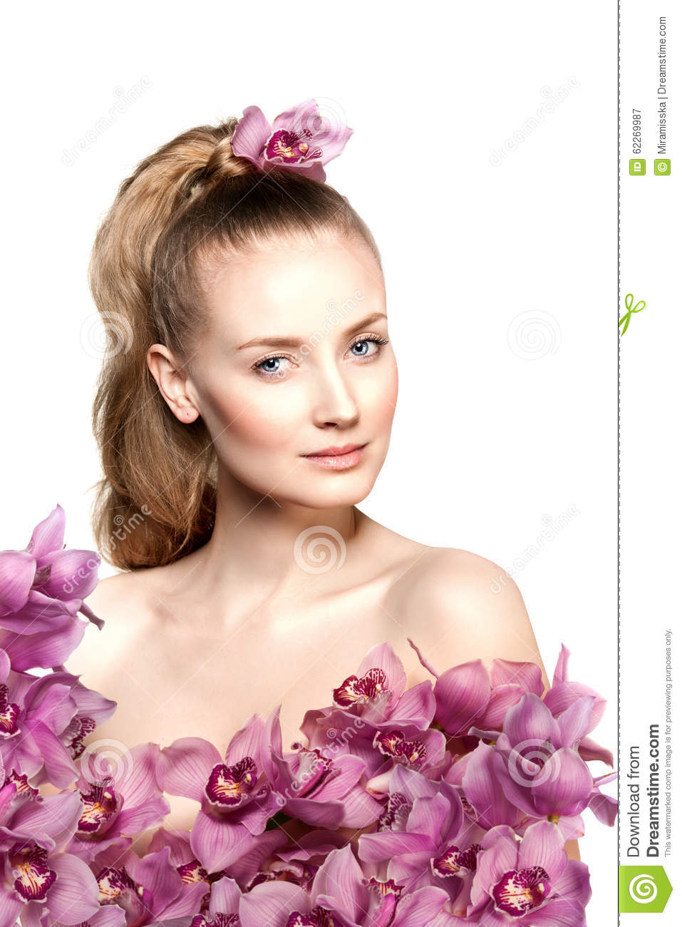 Beauty Young Woman Luxury Long Curly Hair With Orchid