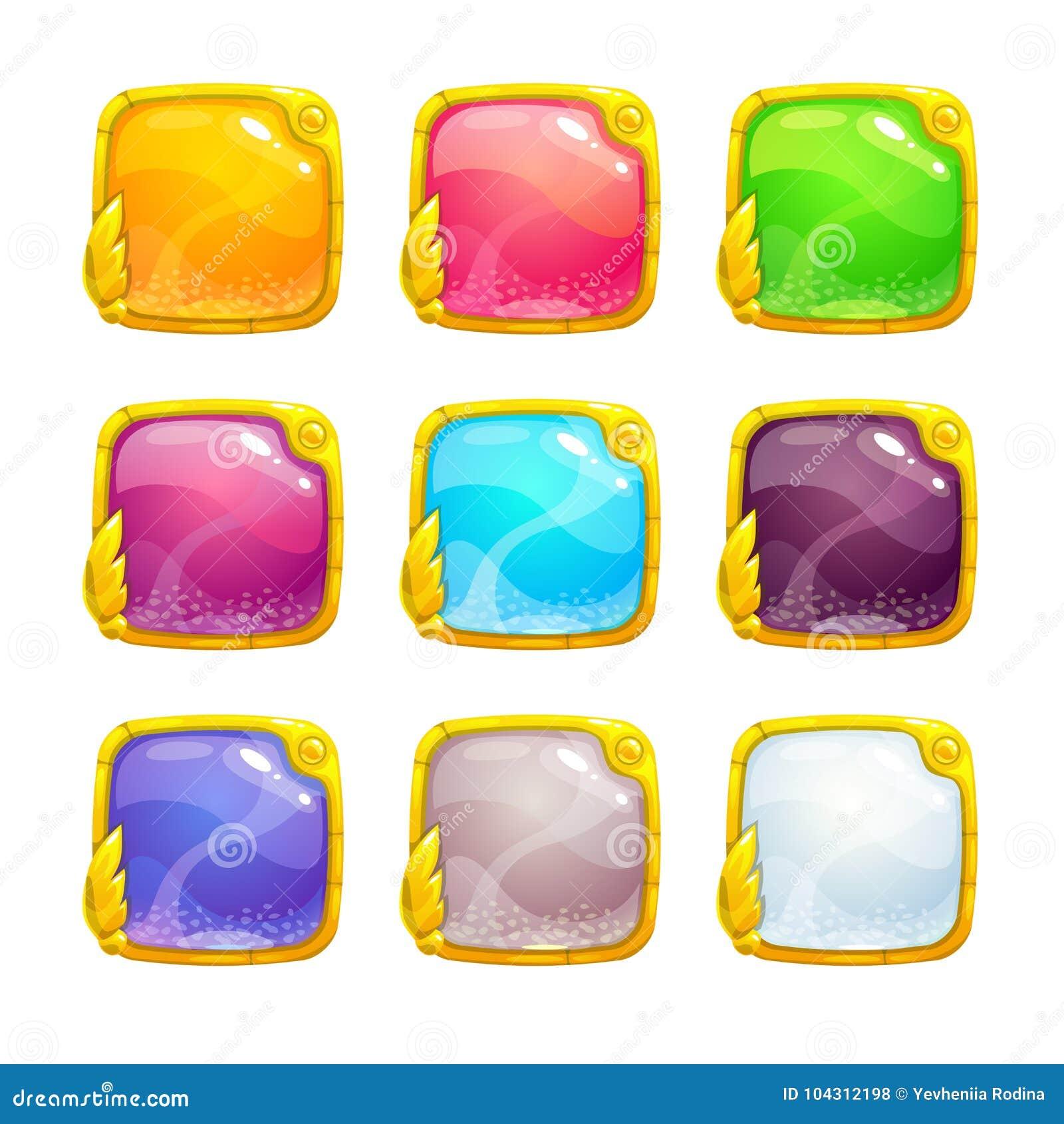Beaux boutons carrés colorés