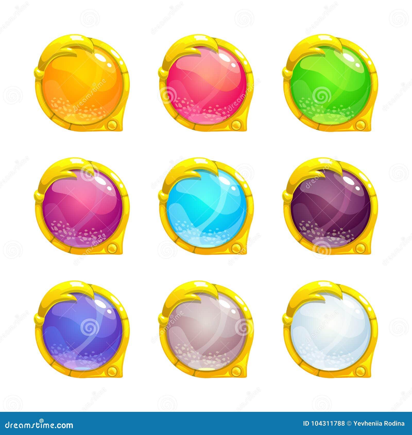 Beaux boutons ronds colorés