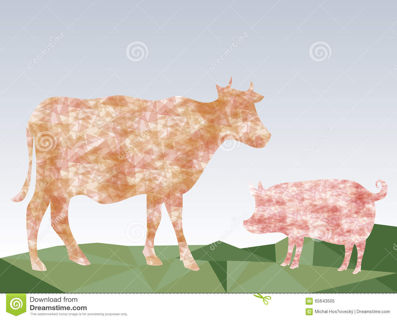 Beaux vache et porc sur le fond abstrait de triangles de pré