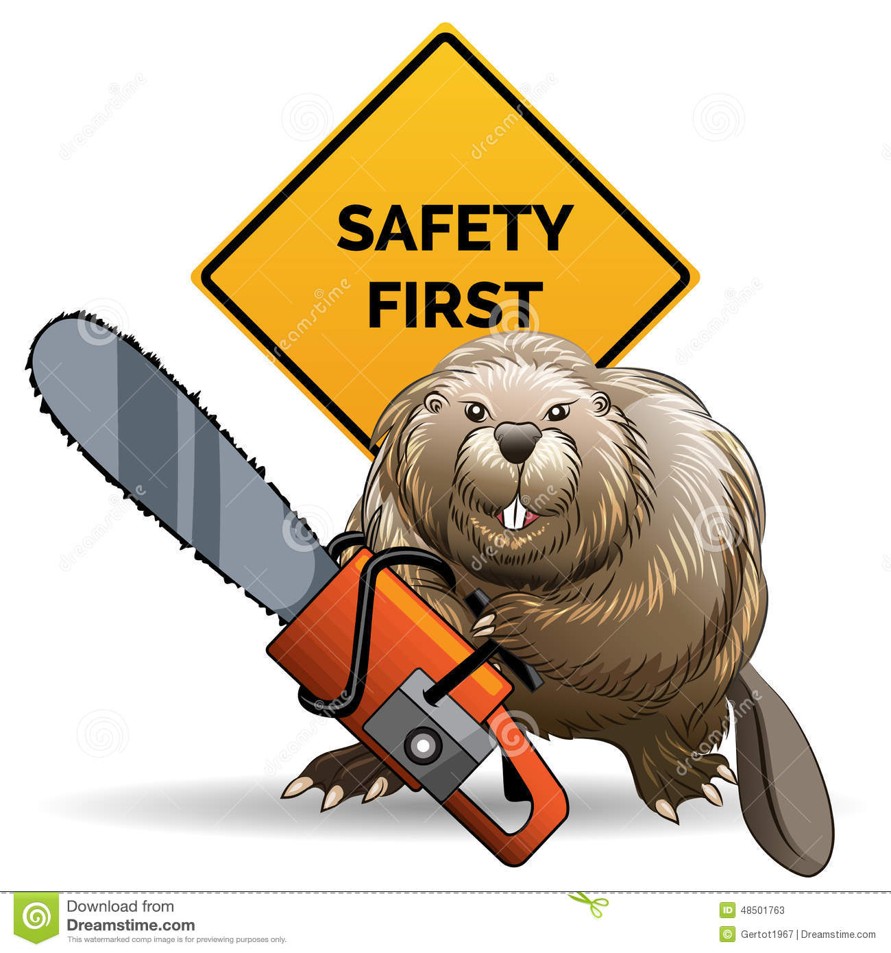 beaver with a chainsaw stock vector   image 48501763