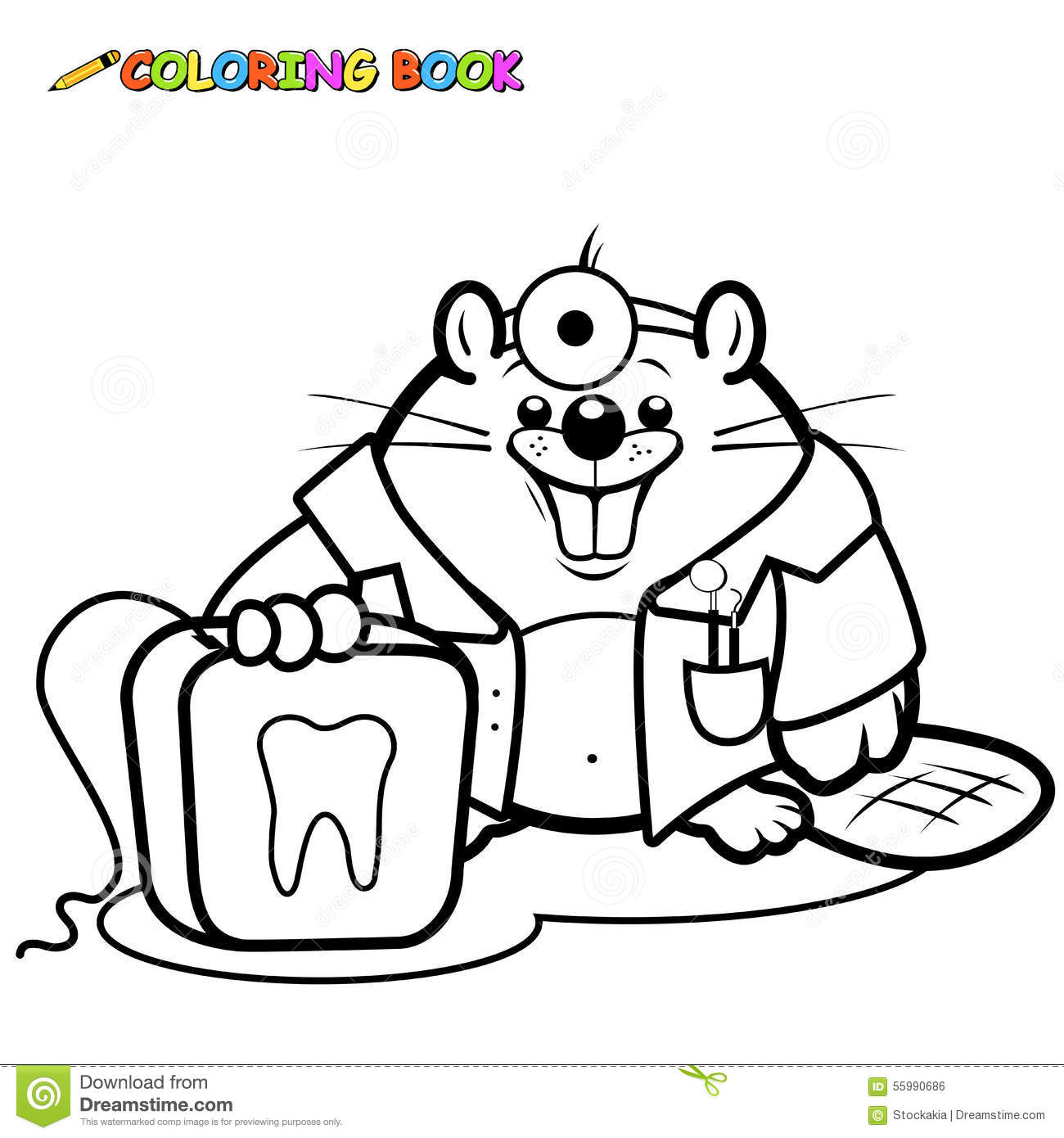 Childrens dental coloring pages - Beaver Dentist Holding A Dental Floss Coloring Page Royalty Free Stock Image