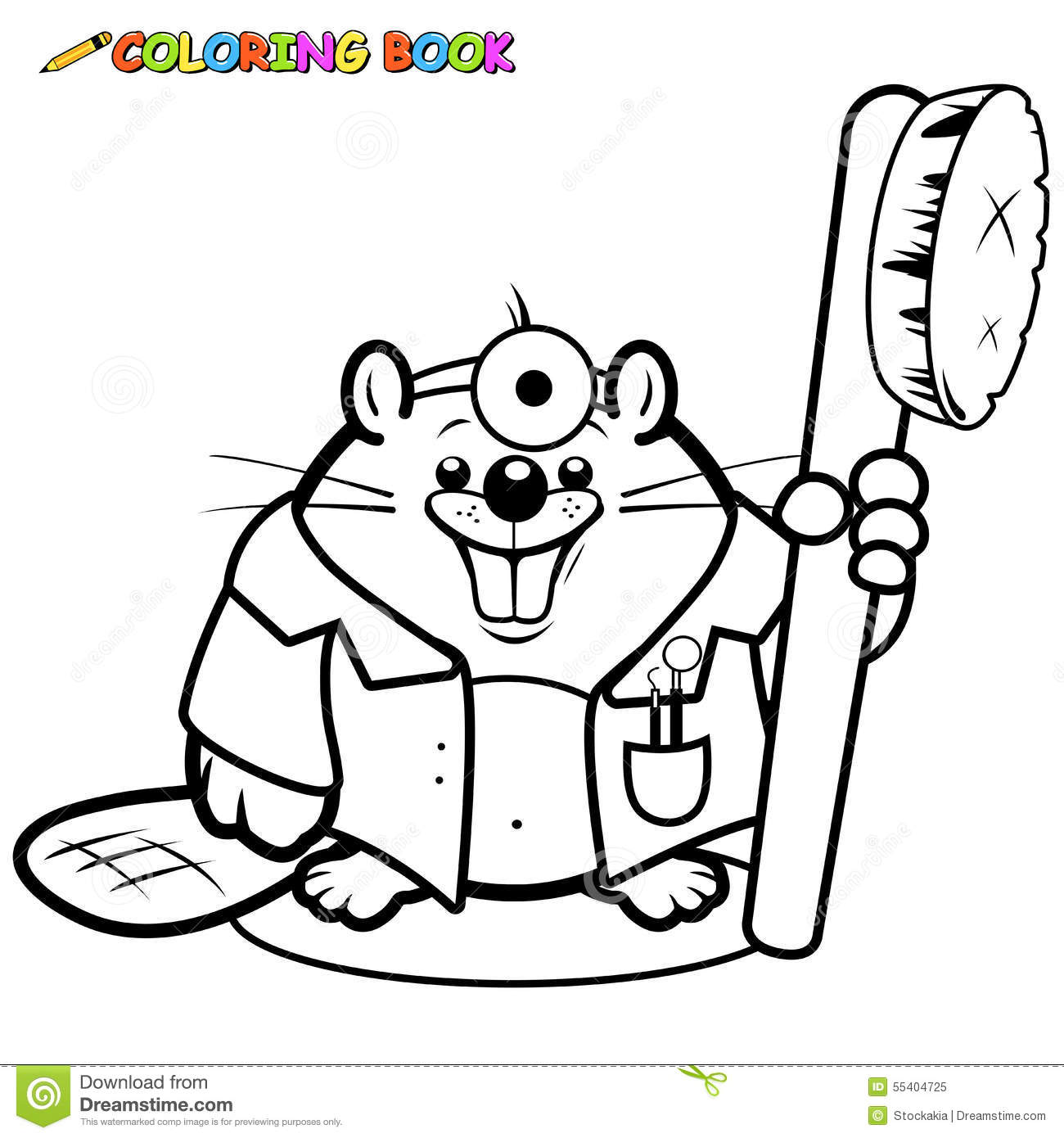 Colouring in pages dental - Beaver Coloring Dentist Holding Illustration Page