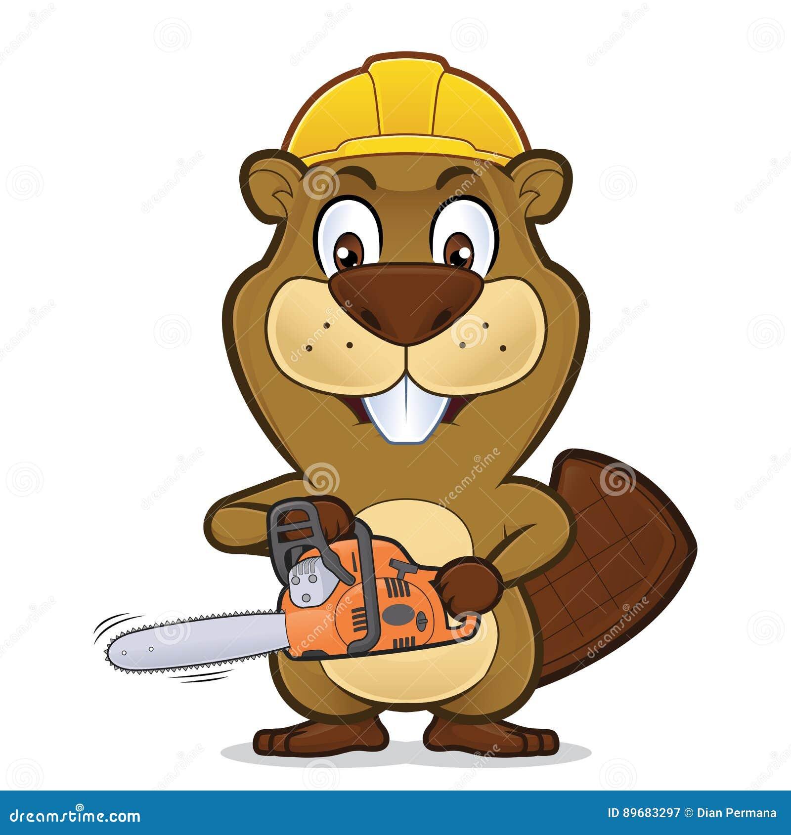 Beaver llevar un sombrero de la construcción y sostener una motosierra