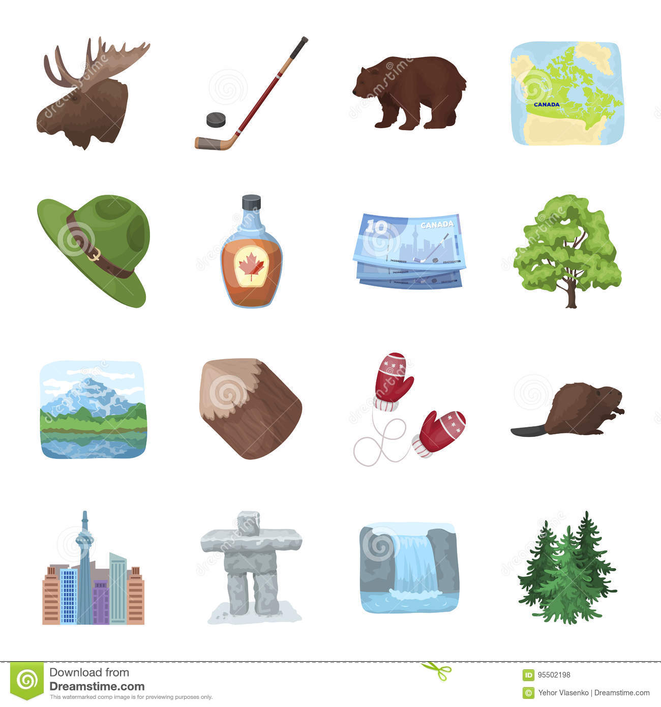 Icons and symbols of canada stock image image of pine clip beaver syrup maple hockey lakes nature and other symbols canada biocorpaavc