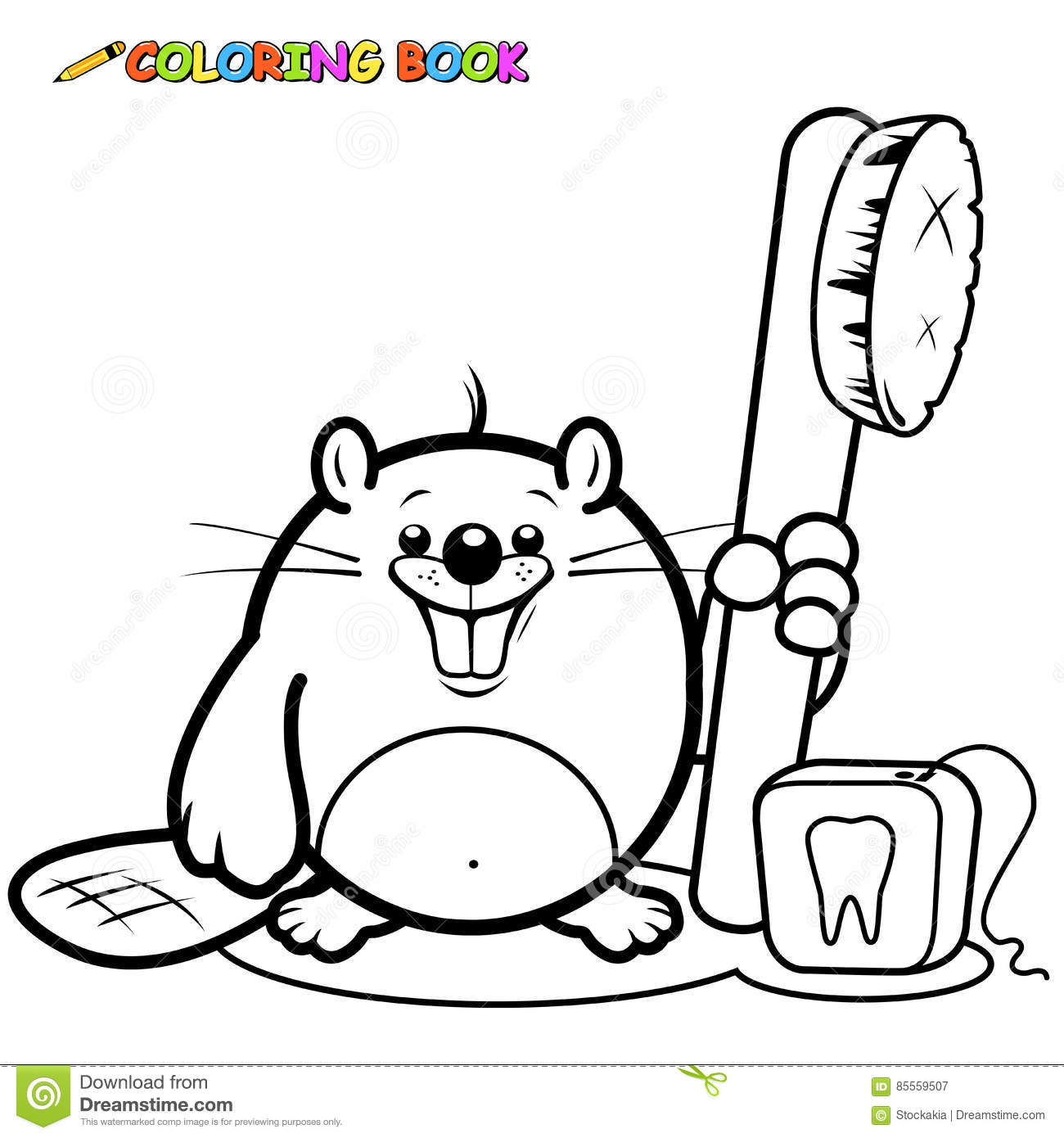 beaver with a toothbrush and dental floss stock vector image