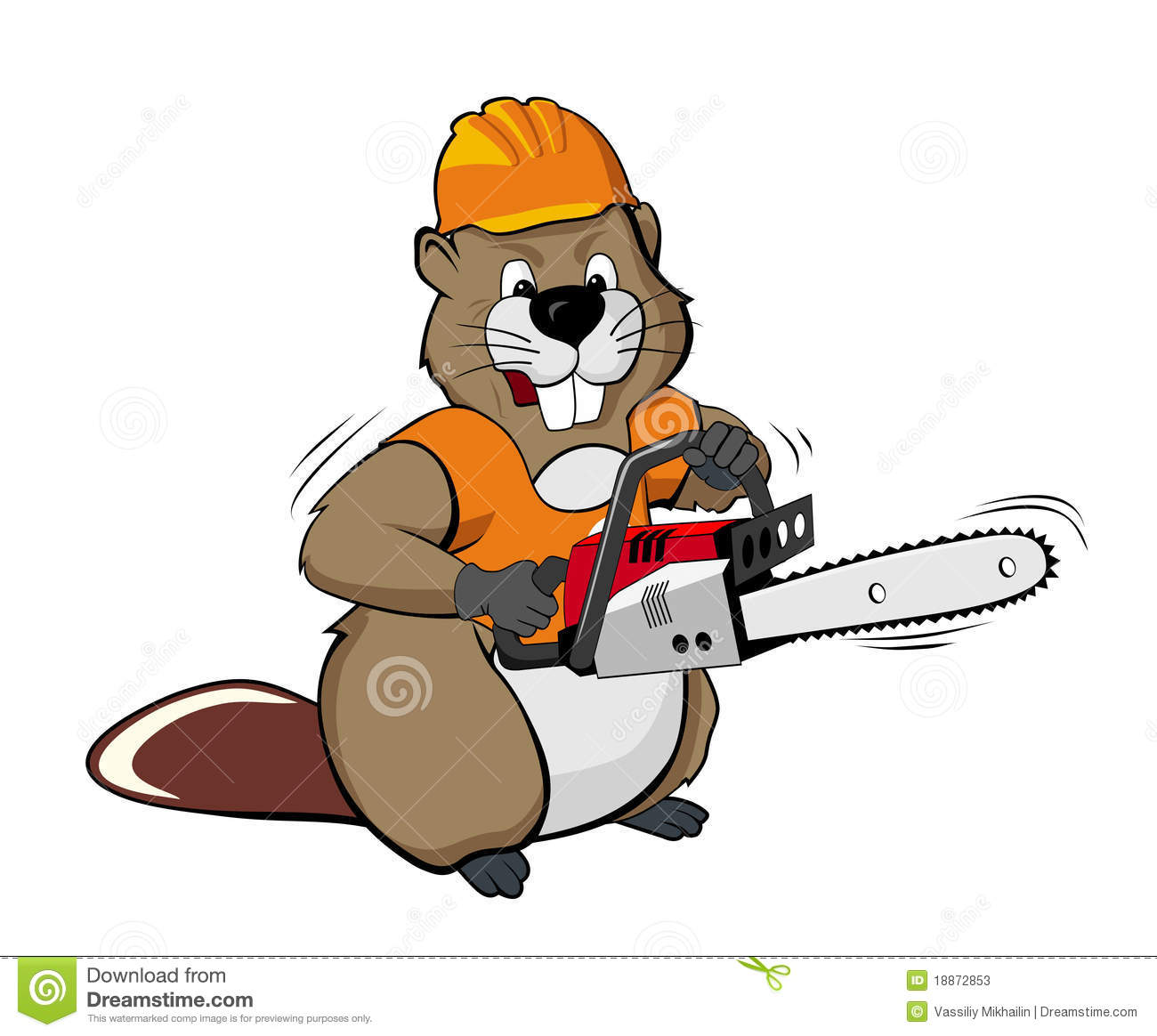 Beaver Wearing A Helmet And Holding A Chain Saw Stock