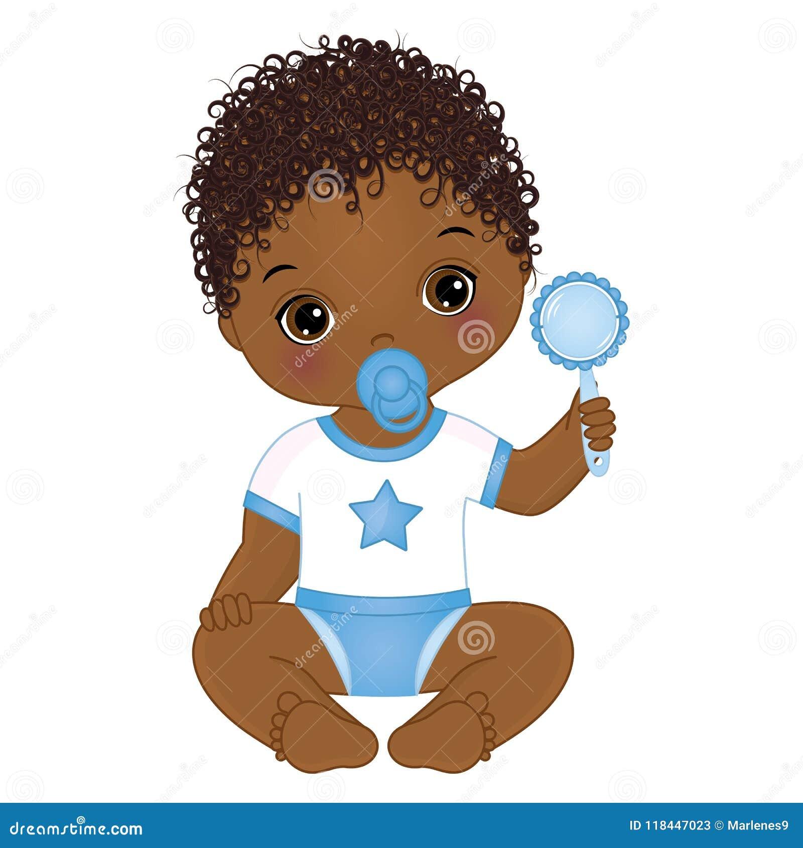 Bebé afroamericano lindo del vector con traqueteo Ducha del bebé del vector
