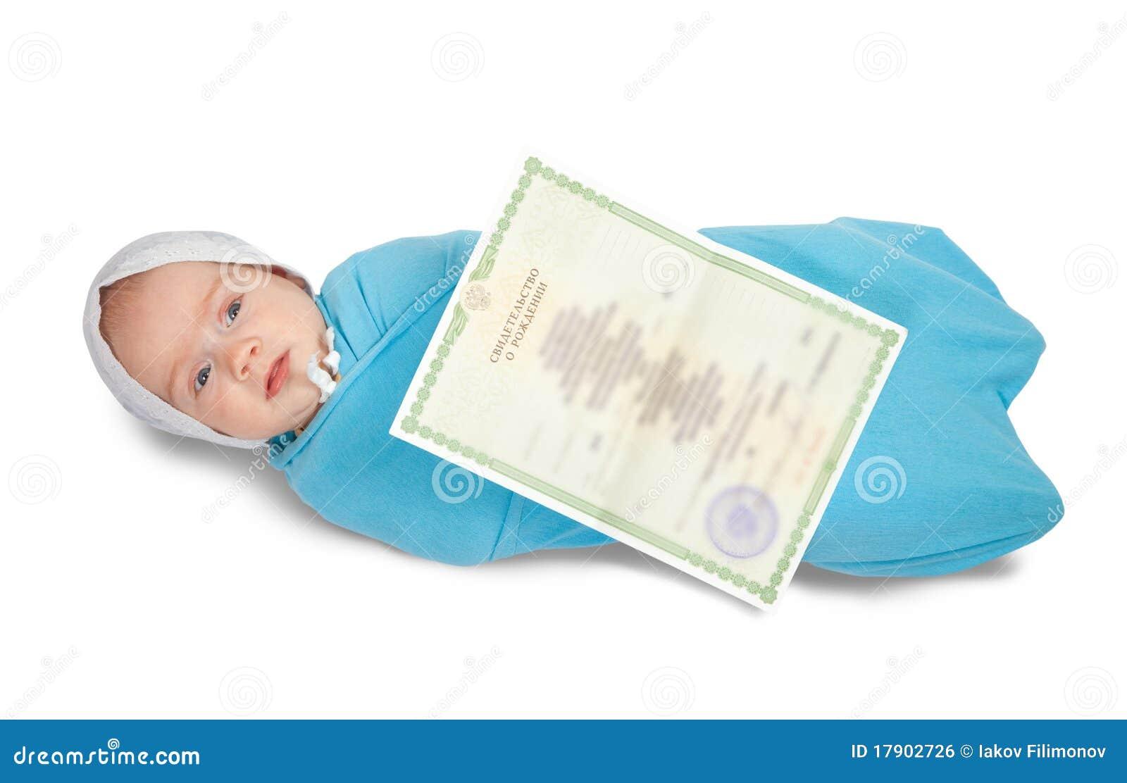 Bebé Con El Certificado De Nacimiento Foto de archivo - Imagen de ...