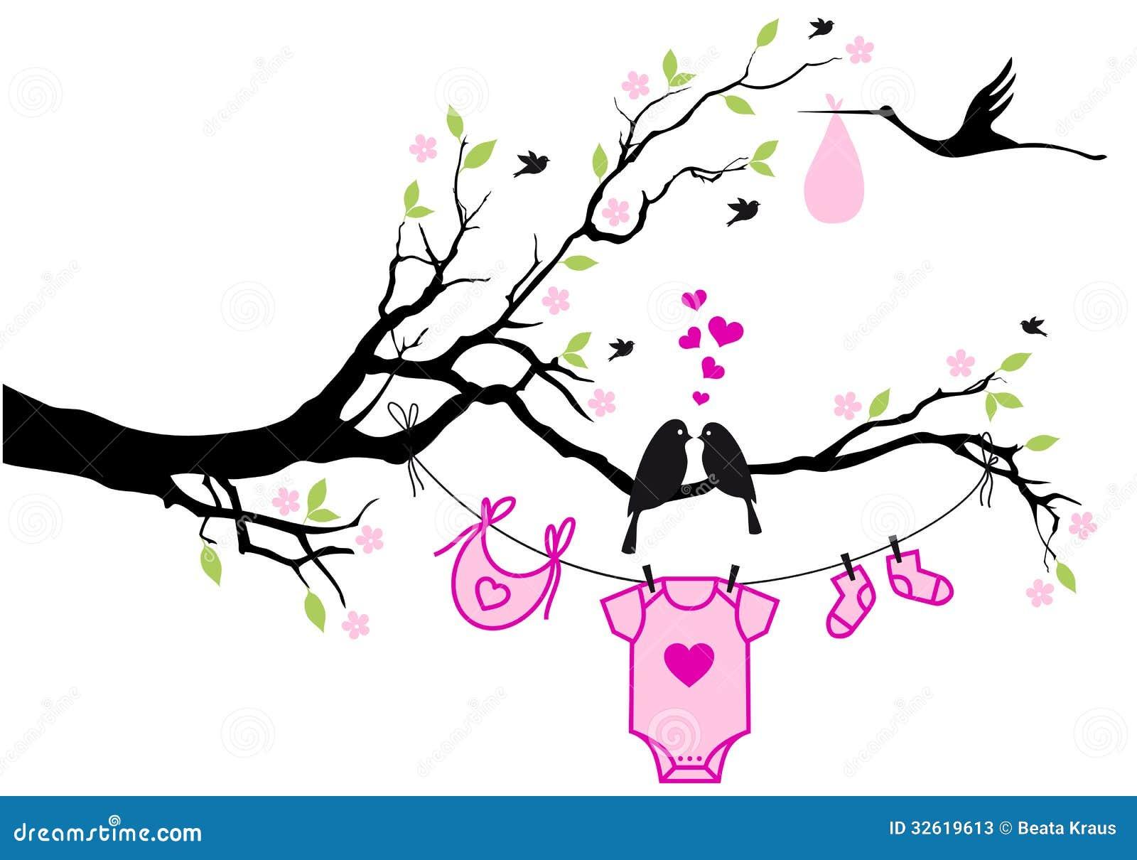 Bebé con los pájaros en el árbol, vector