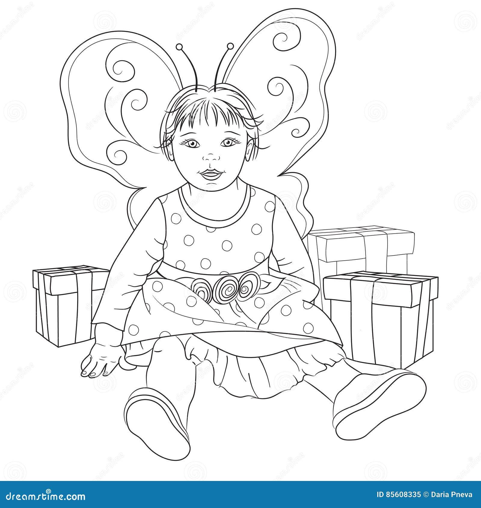 Bebé De Hadas Con Los Regalos Para El Libro De Colorear Stock de ...