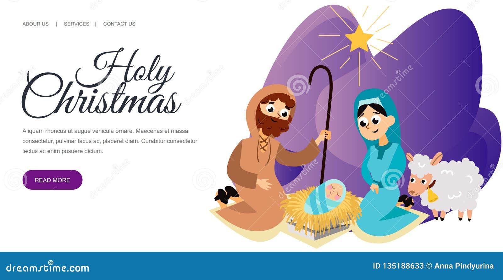 Bebé Jesús llevado en la escena de Belén en familia santa