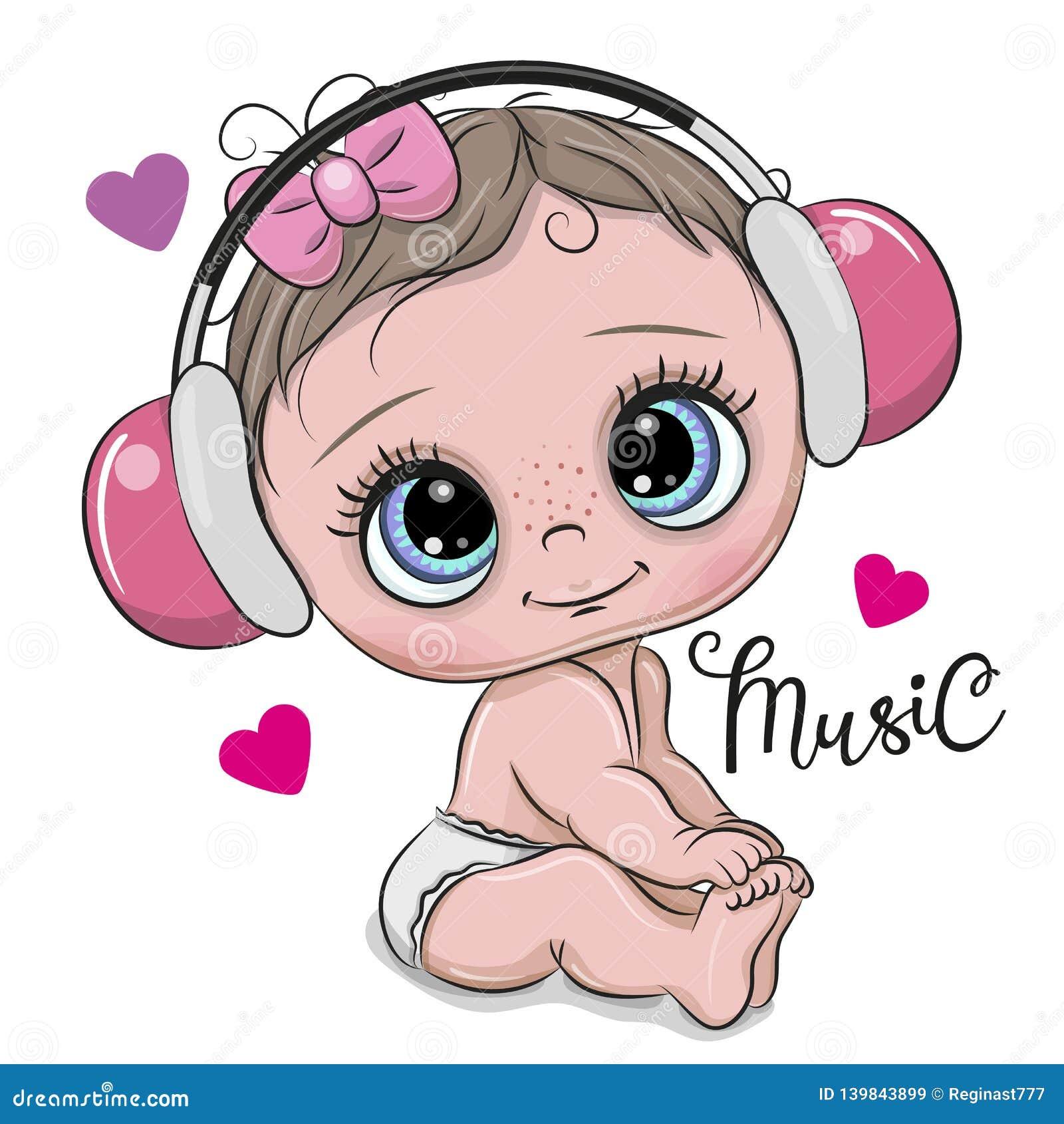 Bebé lindo de la historieta con los auriculares en un fondo blanco
